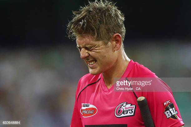 Daniel Hughes of the Sixers leaves the field after being dismissed during the Big Bash League semi final match between the Brisbane Heat and the...