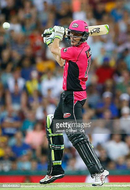 Daniel Hughes of the Sixers plays a shot during the Big Bash League semi final match between the Brisbane Heat and the Sydney Sixers at the The Gabba...