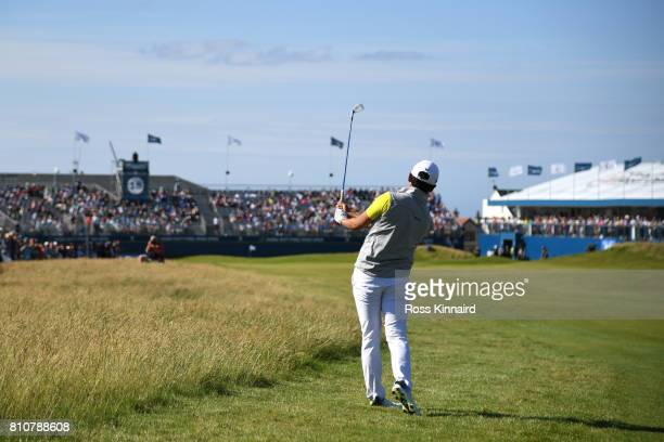 Daniel Im of the United States hits his second shot on the 18th hole during day three of the Dubai Duty Free Irish Open at Portstewart Golf Club on...