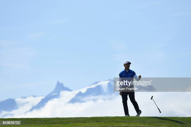 Daniel Im of The United States on the 7th during day one of the 2017 Omega European Masters at CranssurSierre Golf Club on September 7 2017 in...