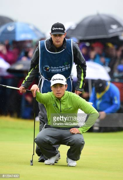 Daniel Im of USA lines up a putt on the 18th green during the final round of the Dubai Duty Free Irish Open hosted by the Rory Foundation at...