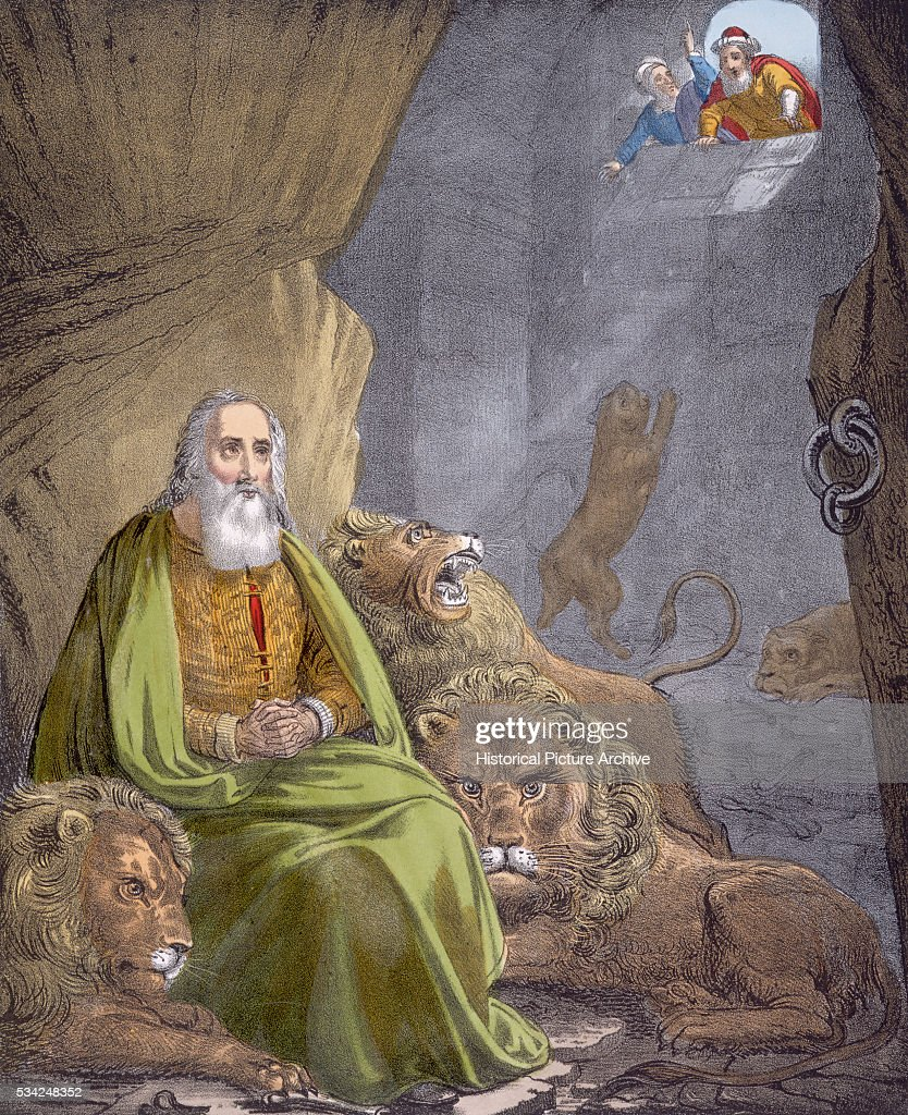 daniel in the lions den bible illustration