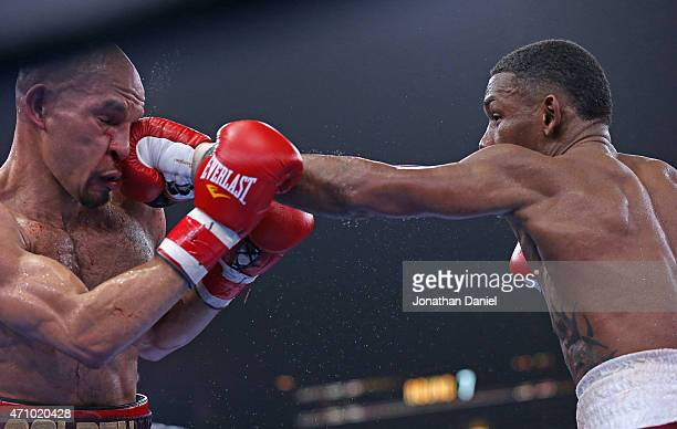 Daniel Jacobs connect with Caleb Truax during a middleweight fight at the UIC Pavilion on April 24 2015 in Chicago Illinois