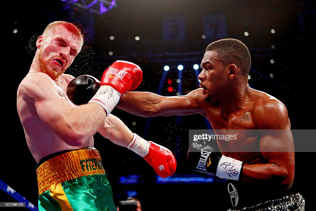 Daniel Jacobs (R) connects on a punch to the face of Chris Fitzpatrick at Madison Square Garden on December 1, 2012 in New York City.