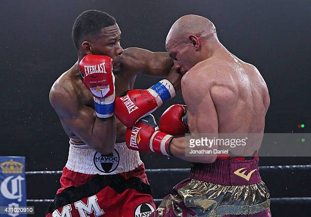 Daniel Jacobs connects with Caleb Truax during a middleweight fight at the UIC Pavilion on April 24 2015 in Chicago Illinois
