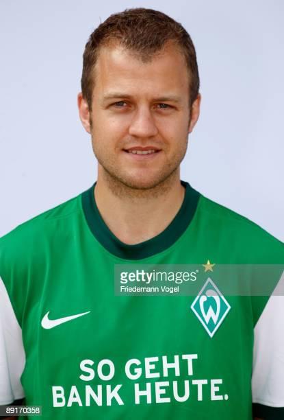 Daniel Jensen poses during the Werder Bremen team presentation at the Weser stadium on July 21 2009 in Bremen Germany