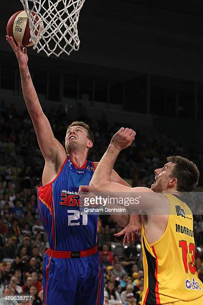 Daniel Johnson of the 36ers drives at the basket during the round 18 NBL match between the Melbourne Tigers and the Adelaide 36ers at Hisense Arena...