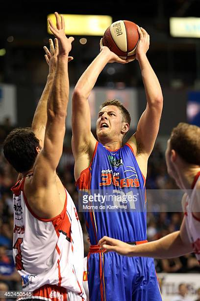 Daniel Johnson of the 36ers goes for the basket during the round eight NBL match between the Adelaide 36ers and the Wollongong Hawks at Adelaide...