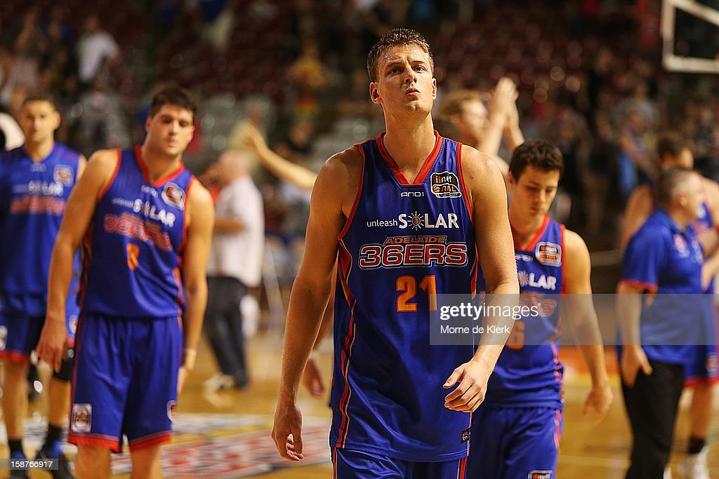 Daniel Johnson of the 36ers leaves the court after the round 12 NBL match between the Adelaide 36ers and the New Zealand Breakers at Adelaide Arena on December 28, 2012 in Adelaide, Australia.