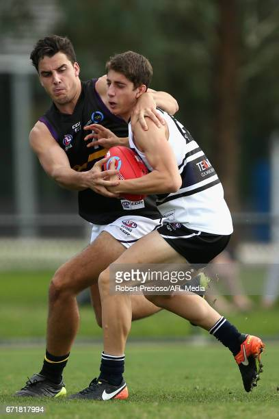 Daniel Johnston of the Bushrangers contests the ball during the round four TAC Cup match between the Northern Knights and the Murray Bushrangers at...