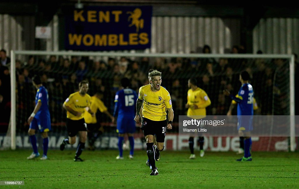 Daniel Jones of Port Vale celebrates scoring a goal during the npower League Two match between AFC Wimbledon and Port Vale at The Cherry Red Records Stadium on January 24, 2013 in Kingston upon Thames, England.