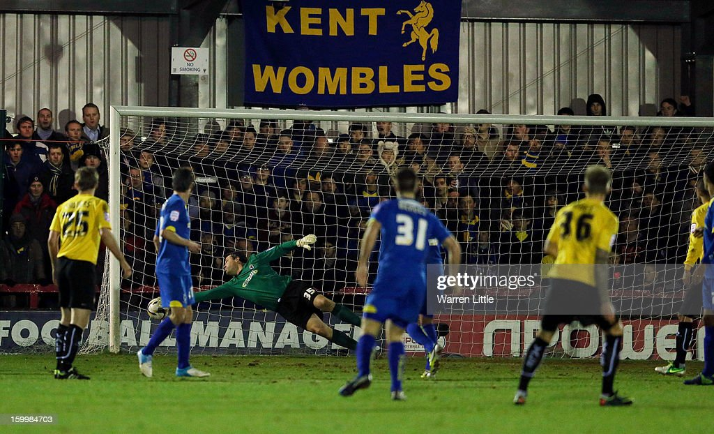 Daniel Jones of Port Vale scores agoal during the npower League Two match between AFC Wimbledon and Port Vale at The Cherry Red Records Stadium on January 24, 2013 in Kingston upon Thames, England.
