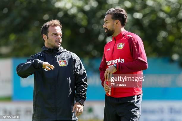 Daniel Jouvin of Bayer 04 Leverkusen speak with Karim Bellarabi of Bayer 04 Leverkusen during the Training Camp of Bayer 04 Leverkusen on July 25...