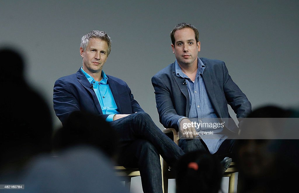 Daniel Junge (L) and Kief Davidson speak during meet the filmmaker series, 'A Lego Brickumentary' at the Apple Store Soho on July 27, 2015 in New York City.
