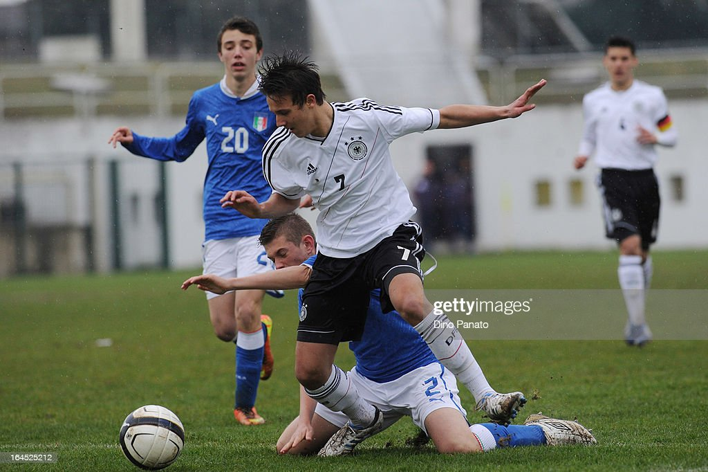 Daniel Juric (R) of Germany U15 competes with Edoardo Bettin of Italy U15 during the International U15 Tournament match between U15 Germany and U15 Italy at Stadio Tognon on March 24, 2013 in Fontanafredda, Italy.