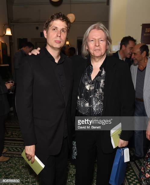 Daniel Kehlmann and Christopher Hampton attend the press night after party for 'The Mentor' at Browns Covent Garden on July 4 2017 in London England