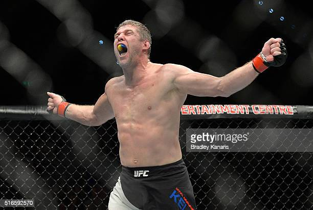 Daniel Kelly celebrates his victory against Antonio Carlos Junior after their UFC Middleweight Bout at UFC Brisbane on March 20 2016 in Brisbane...