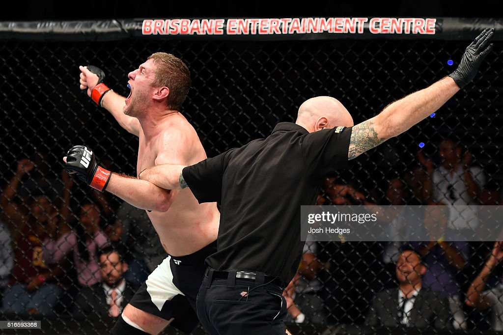 Daniel Kelly of Australia celebrates after defeating Antonio Carlos Junior of Brazil by TKO in their middleweight bout during the UFC Fight Night event at the Brisbane Entertainment Centre on March 20, 2016 in Brisbane, Australia.