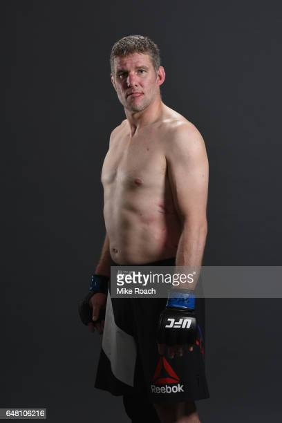 Daniel Kelly of Australia poses for a portrait backstage after his victory over Rashad Evans during the UFC 209 event at TMobile Arena on March 4...