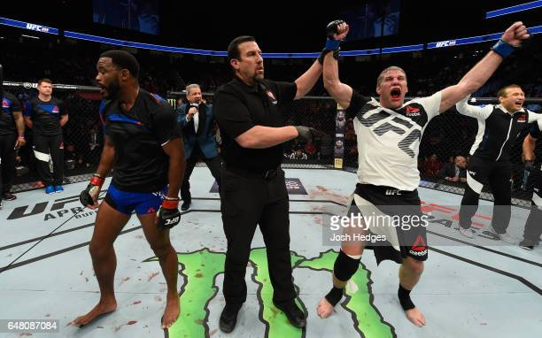 Daniel Kelly of Australia reacts to his victory over Rashad Evans in their middleweight bout during the UFC 209 event at TMobile Arena on March 4...