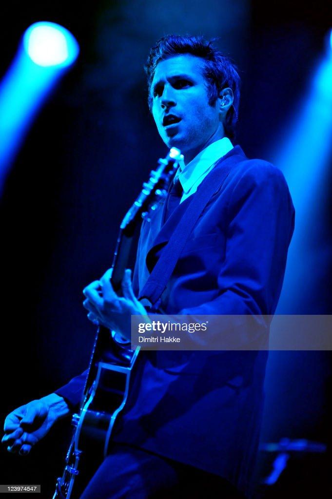 Daniel Kessler of Interpol performs on stage at Lowlands Festival on August 21, 2011 in Biddinghuizen, Netherlands.