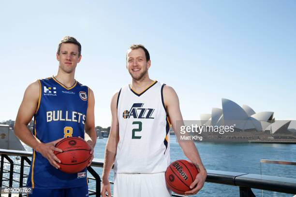 Daniel Kickert of the Bisbane Bullets and Joe Ingles of the Utah Jazz pose during an NBL Media Opportunity at Cruise Bar on August 1 2017 in Sydney...