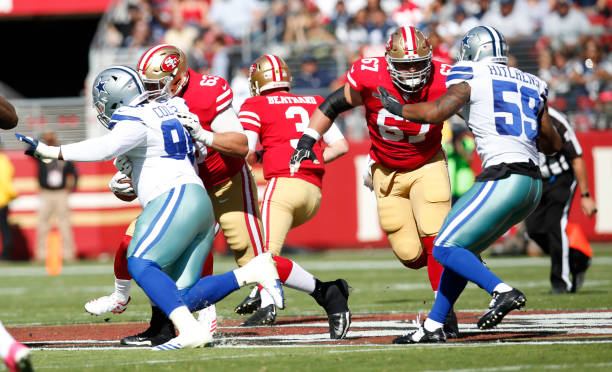 san francisco 49ers blocks during the game against the dallas mens nike san francisco 49ers 52 patrick willis elite grey vapor nfl jersey newest youth