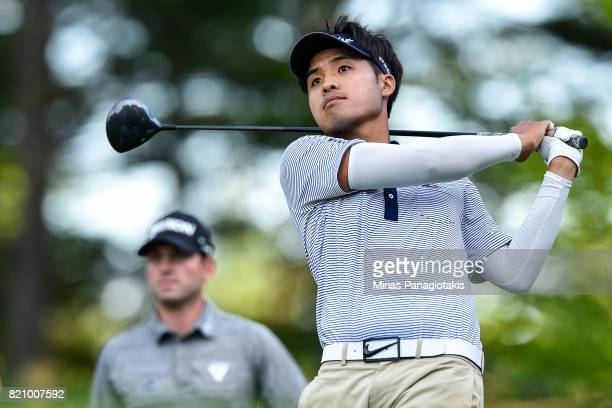 Daniel Kim of Canada hits his tee on the first hole during round three of the Mackenzie Investments Open at Club de Golf Les Quatre Domaines on July...