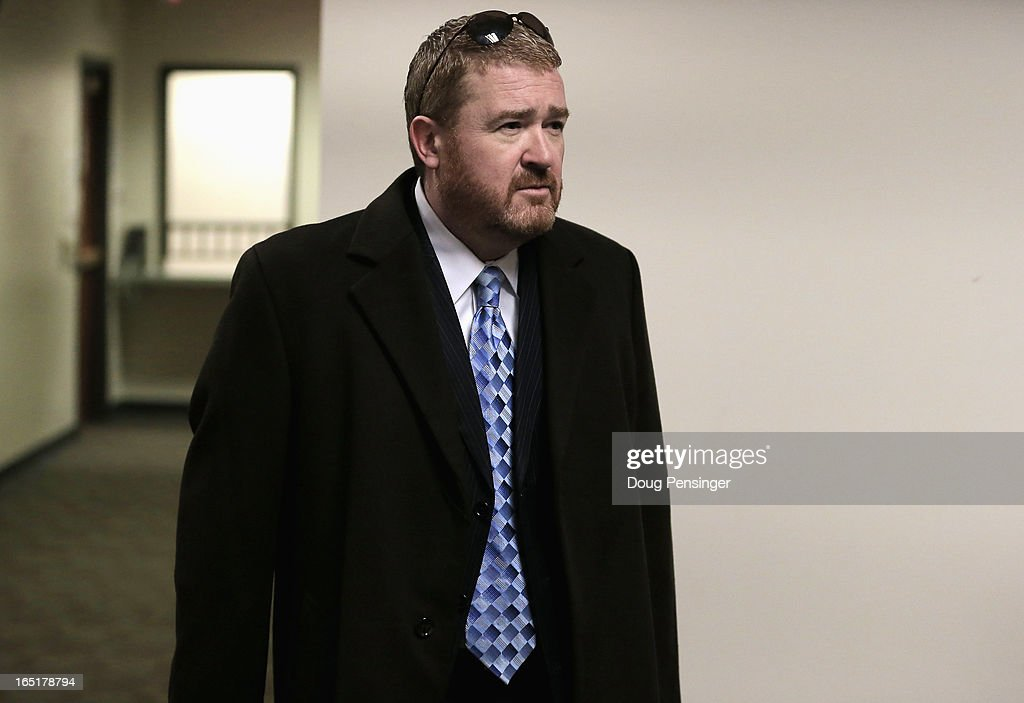 Daniel King, defense attorney for Aurora theater shooting suspect James Holmes, arrives at the courtroom for a hearing in the Arapahoe County Justice on April 1, 2013 in Centennial, Colorado. Prosecutors have said they will seek the death penalty for suspect James Holmes, who is charged with 166 counts of murder, attempted murder and other crimes in the Aurora theater shooting on July 20, 2012.