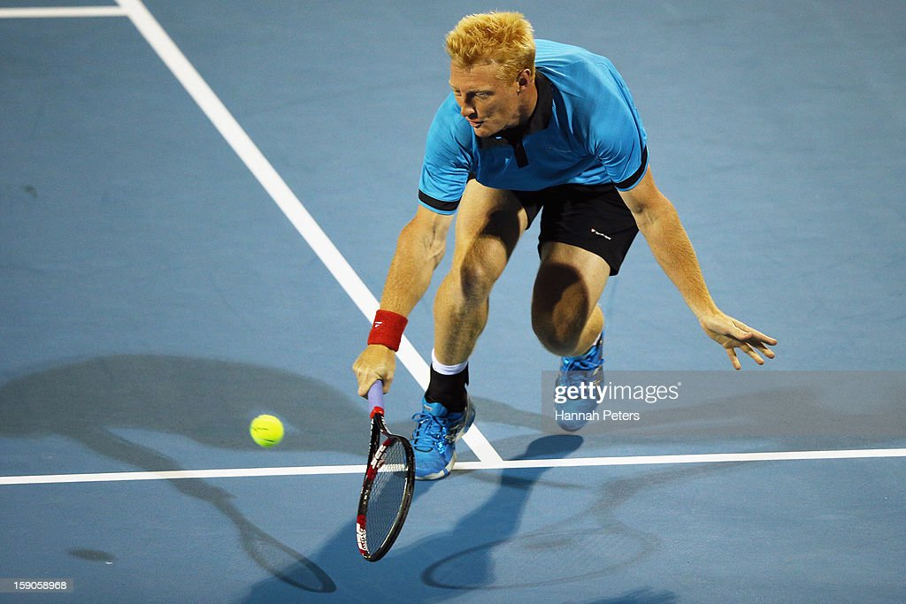 Daniel King-Turner of New Zealand plays a backhand during his first round doubles match with Michael Venus of New Zealand against Colin Fleming of Great Britain and Bruno Soares of Brazil during day one of the Heineken Open at ASB Tennis Centre on January 7, 2013 in Auckland, New Zealand.