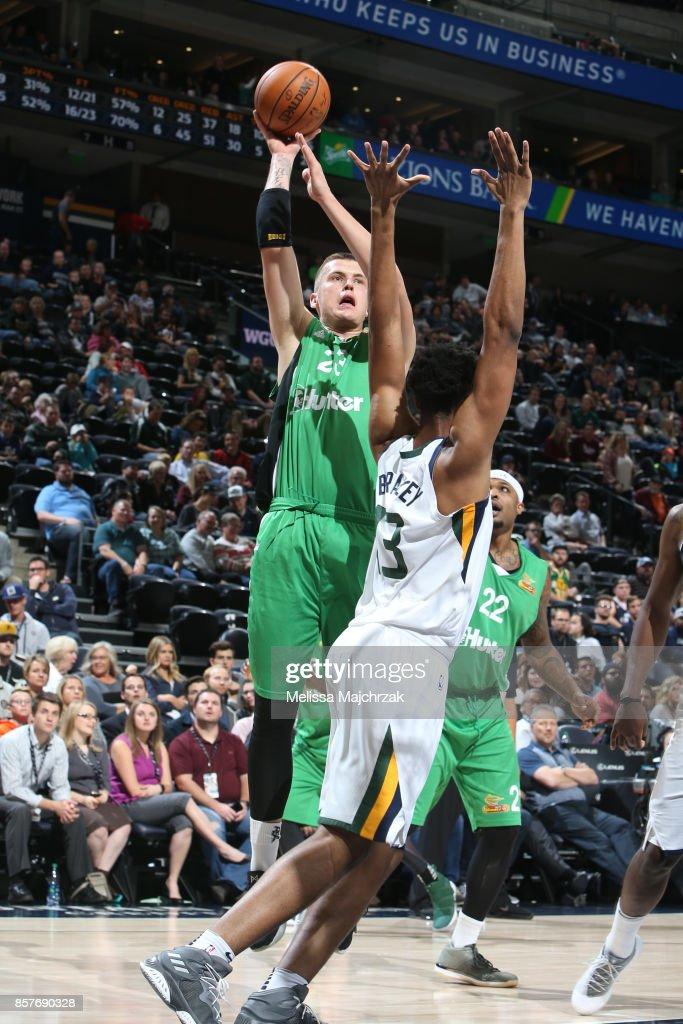 Daniel Koperberg #23 of the Maccabi Haifa shoots the ball against the Utah Jazz during a preseason game on October 4, 2017 at vivint.SmartHome Arena in Salt Lake City, Utah.
