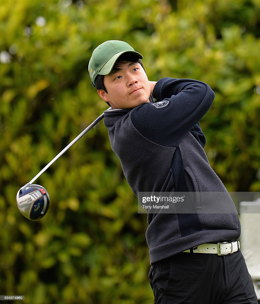 Daniel Kwon of Handsworth Golf Club plays his first shot on the 1st tee during the PGA Assistants Championships - Midlands Qualifier at the Coventry Golf Club on May 26, 2016 in Coventry, England.