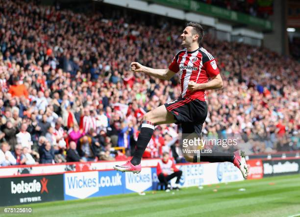 Daniel Lafferty of Sheffield United celebrates scoring the third goal during the Sky Bet League One match between Sheffield United and Chesterfield...