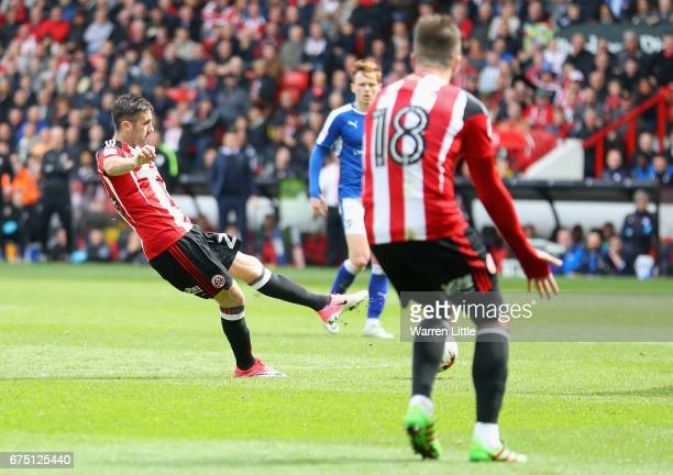 Daniel Lafferty of Sheffield United scores the third goal during the Sky Bet League One match between Sheffield United and Chesterfield at Bramall...