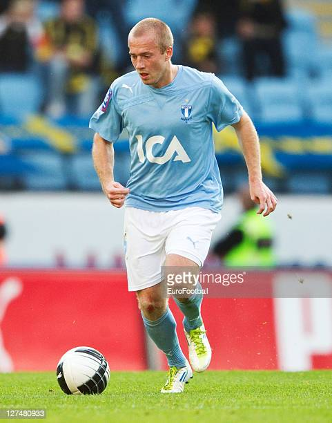 Daniel Larsson of Malmo FF in action during the Allsvenskan League between Malmo FF and AIK Solna at the Swedbank Stadion on September 25 2011in...