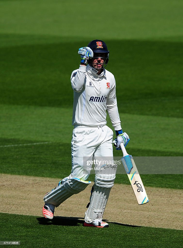 Daniel Lawrence of Essex celebrates reaching his maiden first class century during day three of the LV County Championship Division Two match between...
