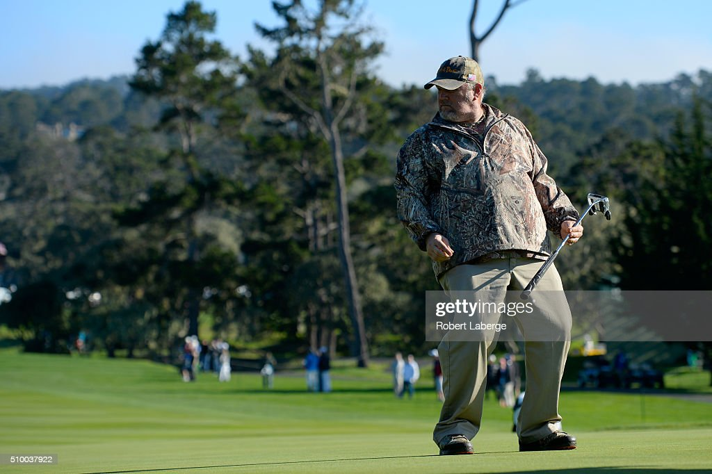 Daniel Lawrence Whitney, also known as 'Larry the Cable Guy', reacts to a putt on the third green during round three of the AT&T Pebble Beach National Pro-Am at the Pebble Beach Golf Links on February 13, 2016 in Pebble Beach, California.