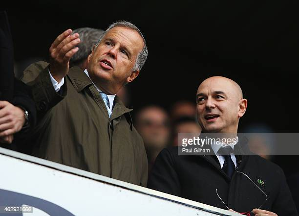 Daniel Levy Chairman of Tottenham Hotspur talks prior to the Barclays Premier League match between Tottenham Hotspur and Arsenal at White Hart Lane...