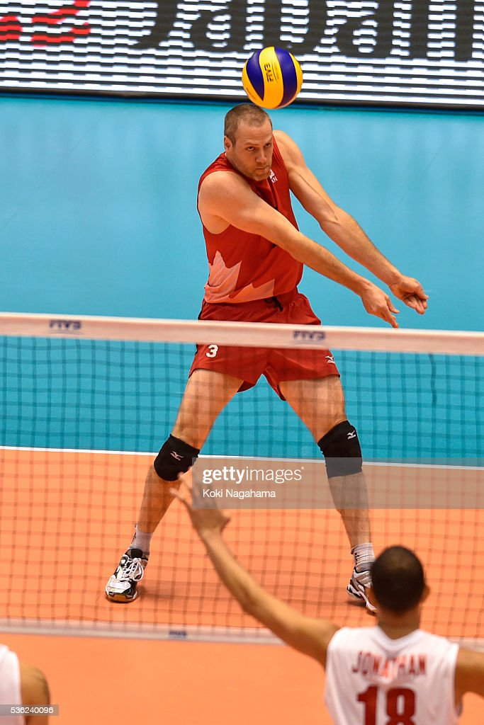 Daniel Lewis #3 of Canada receives the ball during the Men's World Olympic Qualification game between Venezuela and Canada at Tokyo Metropolitan Gymnasium on June 1, 2016 in Tokyo, Japan.