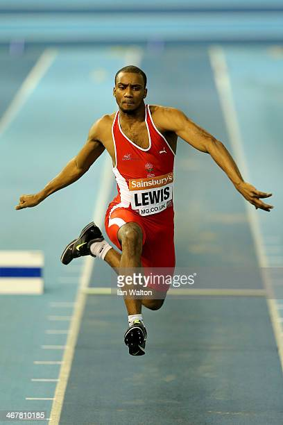 Daniel Lewis of Shaftesbury in action during the Men's triple jump final at the Sainsbury's British Athletics Indoor Championships on February 8 2014...