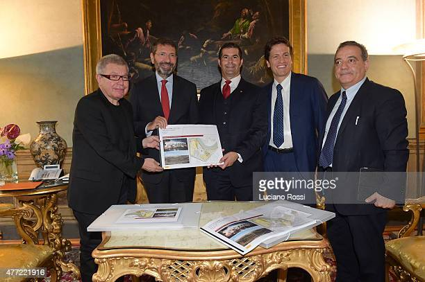 Daniel Liebskind Ignazio Marino Mark Pannes Luca Parnasi and Assessor Giovanni Cauto during the delivery of the new stadium project on June 15 2015...
