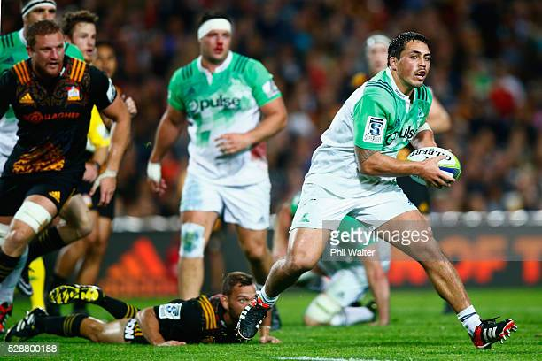 Daniel LienertBrown of the Highlanders makes a break during the round 11 Super Rugby match between the Chiefs and the Highlanders on May 7 2016 in...