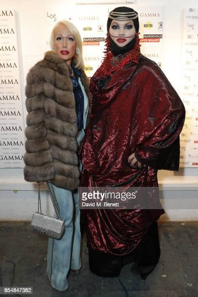 Daniel Lismore and guest attend a private view of the 'Benbai Expo' at The Barge House Oxo Tower Wharf on September 27 2017 in London England