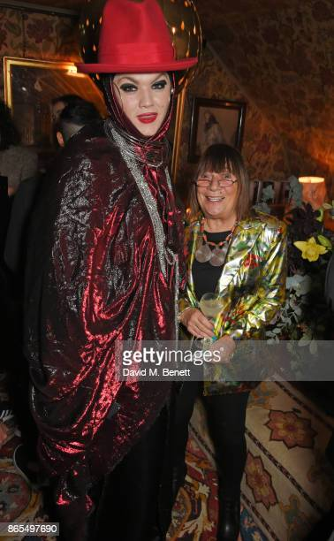Daniel Lismore and Hilary Alexander attend The Fashion Awards 2017 nominees party in partnership with Swarovski at 5 Hertford Street on October 23...