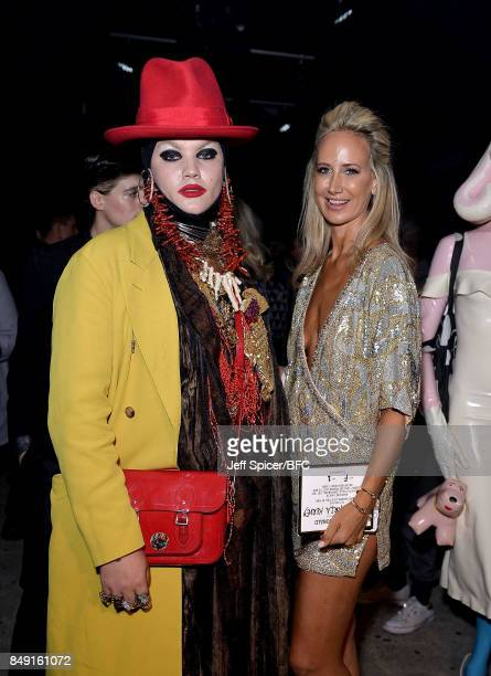 Daniel Lismore and Lady Victoria Hervey attend the Julien Macdonald show during London Fashion Week September 2017 on September 18 2017 in London...