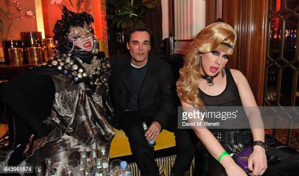 Daniel Lismore David LaChapelle and Jodie Harsh attend The Warner Music Ciroc Brit Awards After Party on February 22 2017 in London England