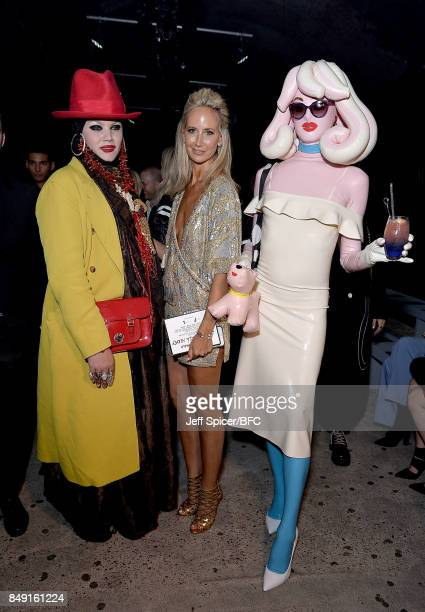 Daniel Lismore Lady Victoria Hervey and Pandamonia attend the Julien Macdonald show during London Fashion Week September 2017 on September 18 2017 in...