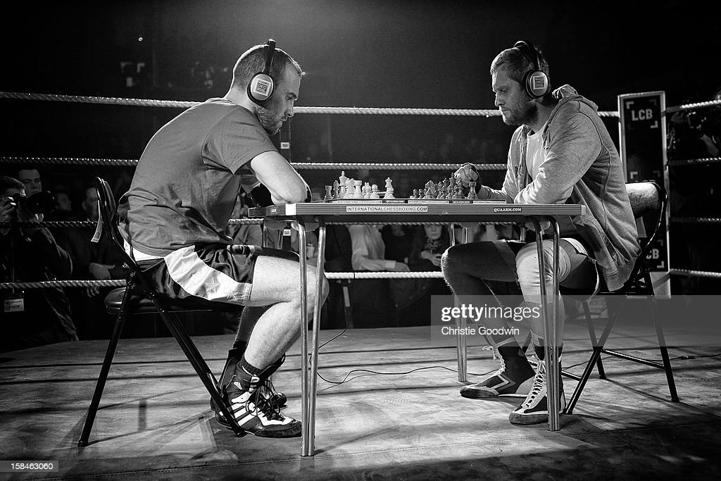 Daniel Lizarraga and Vladimir Makarov in the ring during the Chessboxing 2012 Season Finale at Scala on December 8, 2012 in London, England.