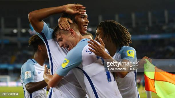 Daniel Loader of England celebrates a scored goal during the FIFA U17 World Cup India 2017 group F match between England and Iraq at Vivekananda Yuba...