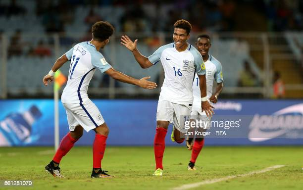 Daniel Loader of England celebrates his goal during the FIFA U17 World Cup India 2017 group F match between England and Iraq at Vivekananda Yuba...